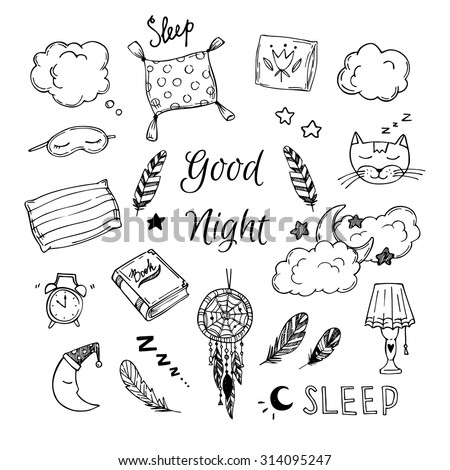 Hand Drawn vector elements - Good night (dreamcatcher, sleeping moon, pillows, feathers, book, lamp, sleeping cat and more).