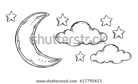 Hand Drawn vector elements - Good night (sleeping moon, stars, clouds). Illustrations in sketch style. Perfect for prints, postcards, posters etc