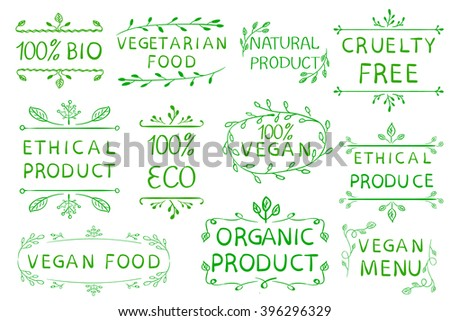 Hand drawn VECTOR elements isolated on white. Green lines. Bio, organic, ethical products. Vegan menu.
