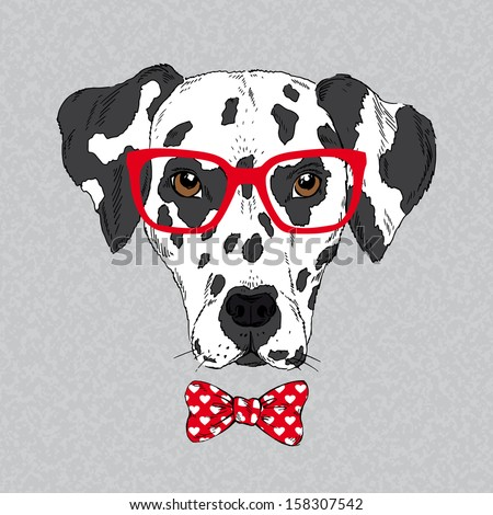 Hand Drawn Vector Fashion Portrait of Dalmatian