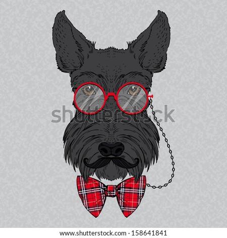 Hand Drawn Vector Fashion Portrait of Scottish Terrier