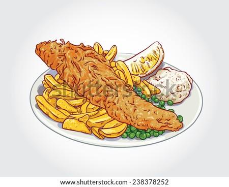 hand drawn vector fish and
