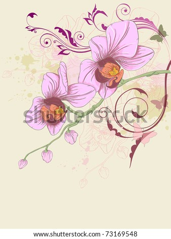 hand drawn vector floral background with orchid and ornament