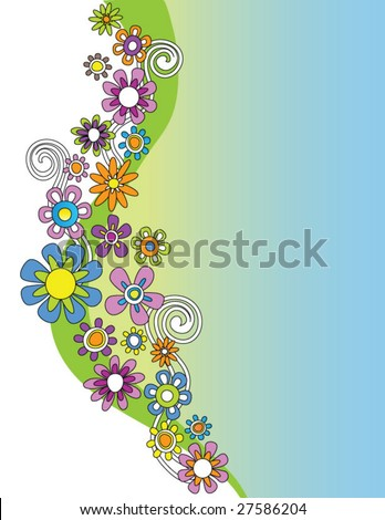 hand drawn vector floral border