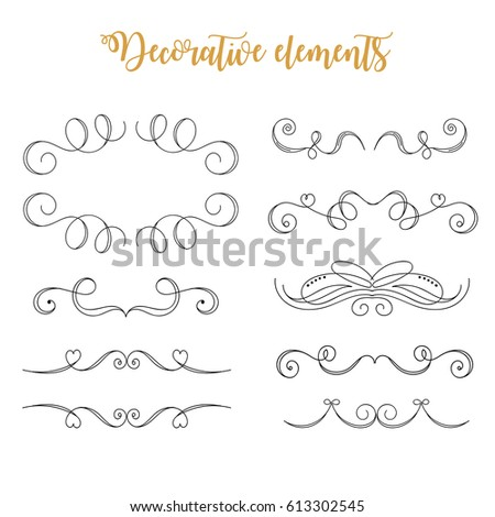 Hand Drawn Vector Flourishes. Decorative calligraphic elements. Wedding elements: swashes, swirls, frames, brackets, dividers