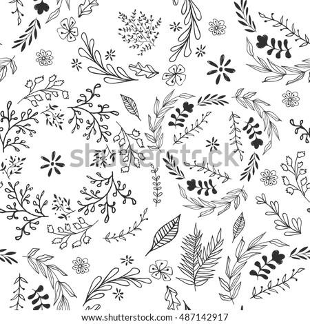 Hand drawn vector flower seamless pattern.