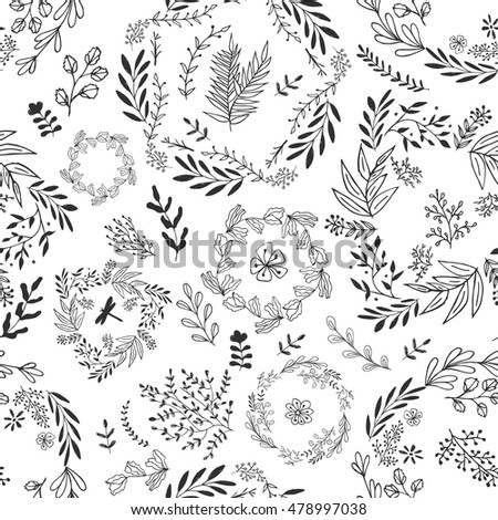Hand drawn vector flower seamless pattern. Botanic texture, detailed flowers illustrations. Doodle style, spring floral background.