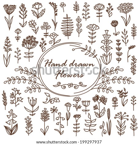 Hand Drawn Vector Flowers. Can be used for invitation, wallpaper, background, web page, card. #199297937