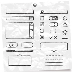 hand-drawn vector form elements for web