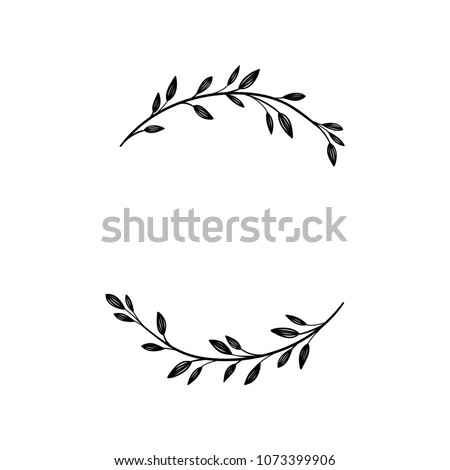 Hand drawn vector frame. Floral wreath with leaves for wedding and holiday. Decorative elements for design. Isolated