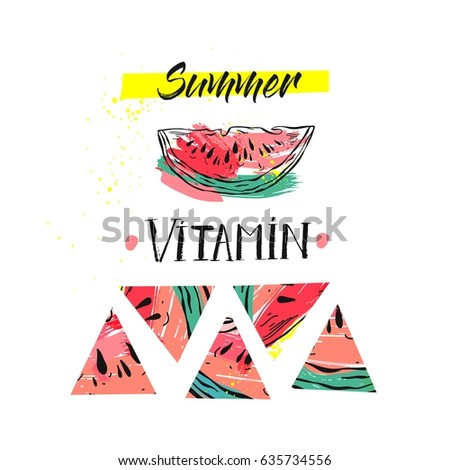 Hand drawn vector funny summer unusual background with abstract watermelon,freehand textures and modern handwritten calligraphy quote Summer Vitamin isolated on white background.Sign,poster,label