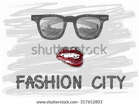 hand drawn vector glasses