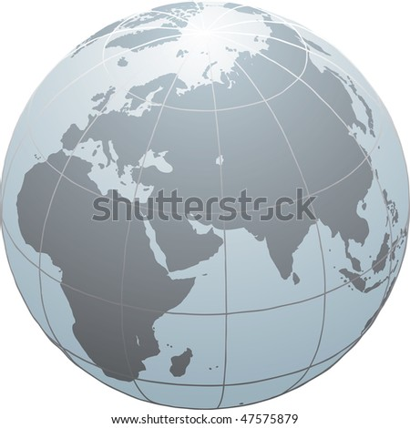 Hand drawn vector globe with Africa, Europe and Asia