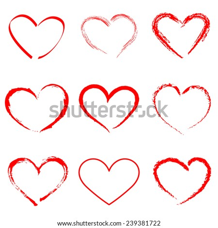 hand drawn vector heart set