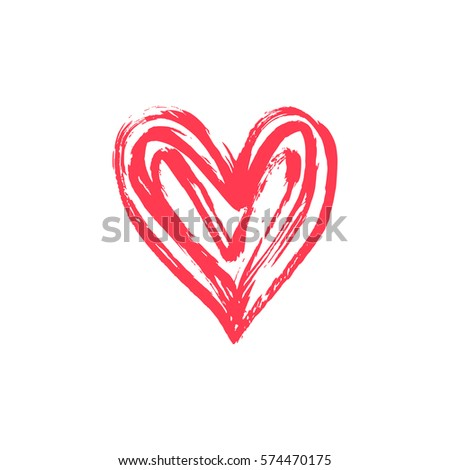 Hand drawn vector heart with paint texture. Valentine's day or wedding design element.