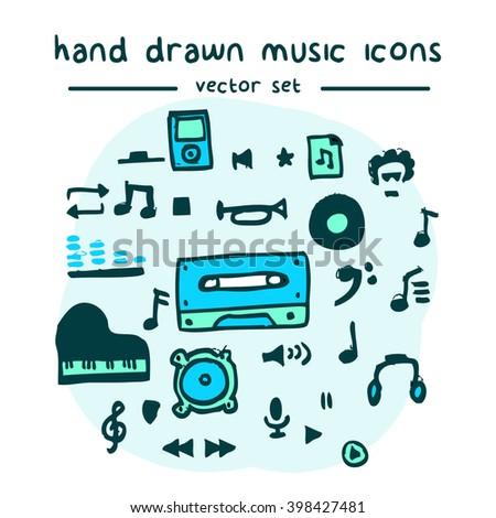 hand drawn vector icon set