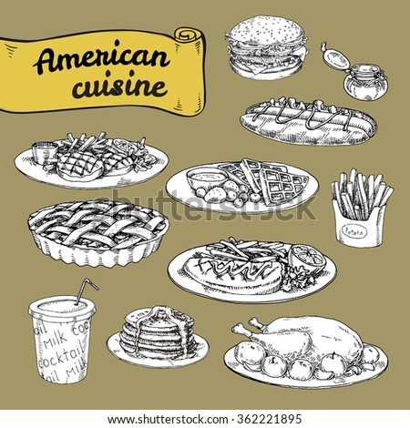 Hand drawn vector illustration a set of basic american for Authentic american cuisine