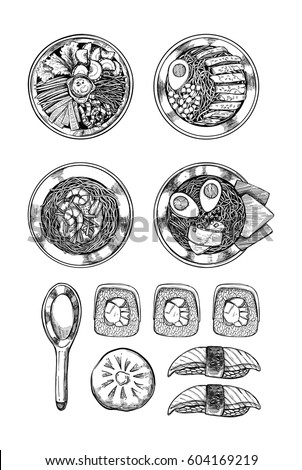Hand drawn vector illustration - Asian cuisine. Ramen and some dishes. Perfect for restaurant brochure, cafe flyer, delivery menu. Illustrations in sketch style