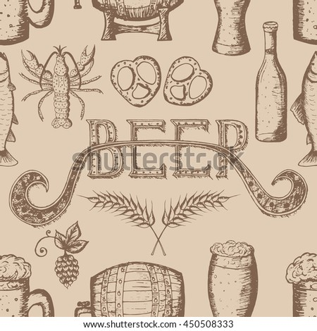 Hand Drawn Vector Illustration, Beer Set, Seamless Pattern, Beer Icon, Beer  Symbols