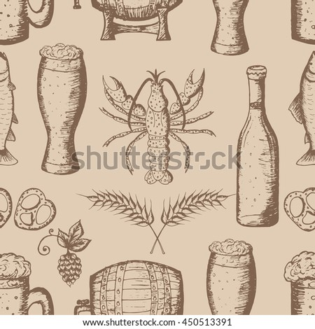 Wunderbar Hand Drawn Vector Illustration, Beer Set, Seamless Pattern, Beer Icon, Beer  Symbols