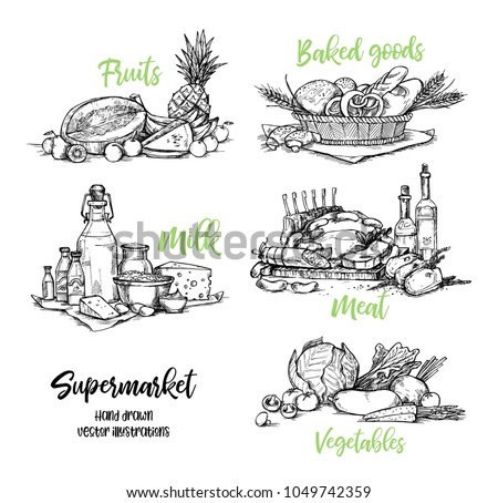 Hand drawn vector illustration. Collection of Supermarket products.  Grocery store. Design elements in sketch style. Perfect for brochures, flyers, delivery, poster, advertising
