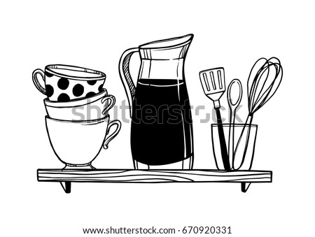 Hand drawn vector illustration - Crockery on the shelf (cups, pitcher, kitchen appliances). Design elements in sketch style. Perfect for prints, cards, menu, vinyl stickers etc