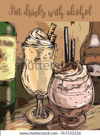 Hand drawn vector illustration delicious hot drinks with alcohol. Retro template. Sketch.