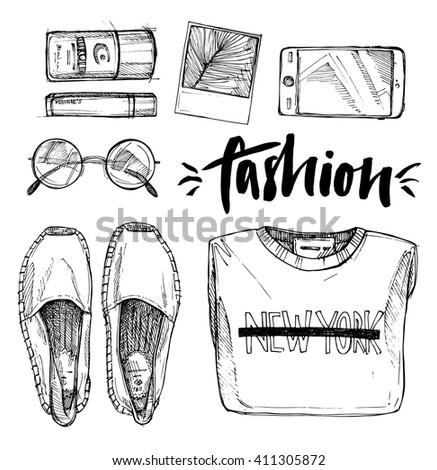Shutterstock Hand drawn vector illustration , fashion accessories. Set of  stylish ctother. Set of