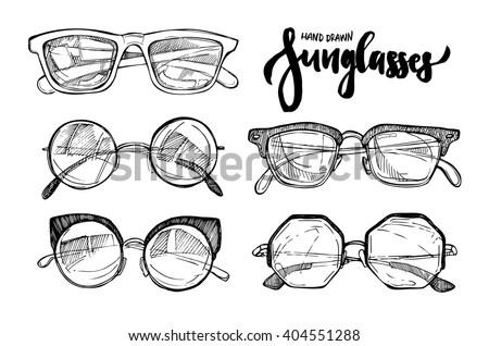 Hand drawn vector illustration - Fashion sunglasses. Vintage decorative  design elements.
