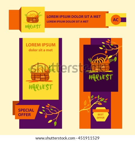 Hand drawn vector illustration for harvest autumn festival. Sketch style logo and banner with apple, pumpkin for invitation on event, party.  #451911529