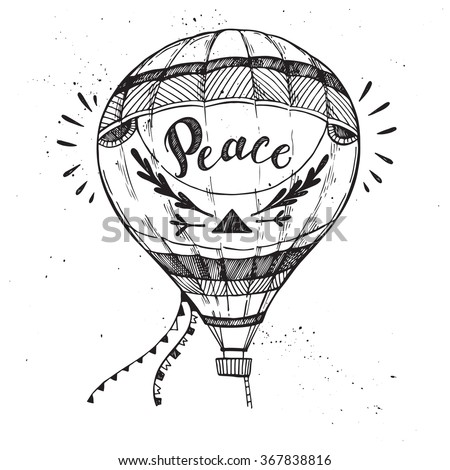 Hand drawn vector illustration - hot air balloon in the sky. Sketch