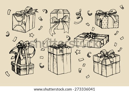 Hand drawn vector illustration - Magic gift boxes. Vintage