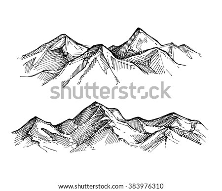Hand drawn vector illustration - mountains. Outdoor camping background. Landscape nature