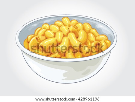 Hand drawn vector illustration of a bowl of Macaroni and Cheese. Also known as Mac and Cheese, Mac n Cheese.