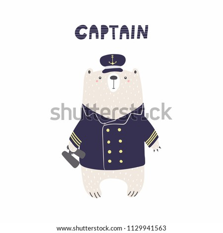 Hand drawn vector illustration of a cute funny bear sailor in captain cap, with binoculars, text. Isolated objects on white background. Scandinavian style flat design. Concept for kids, nursery print.