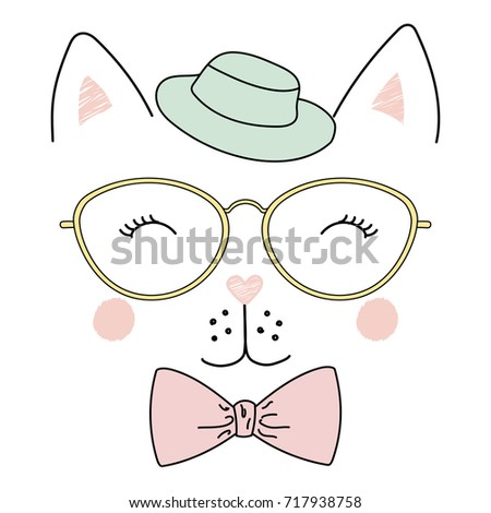 b8a16db9c05 Hand drawn vector illustration of a cute funny cat face in a fedora hat