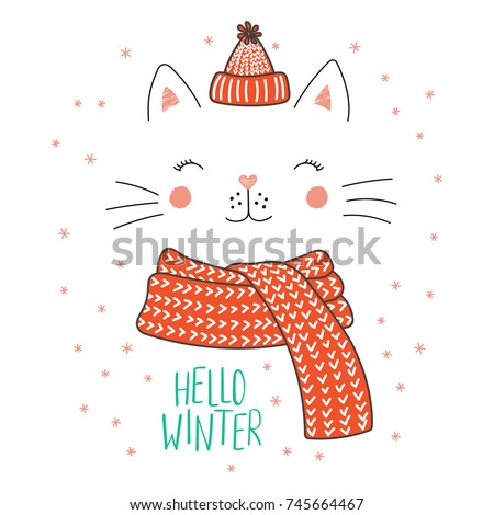 Hand drawn vector illustration of a cute funny cat face in a knitted hat, muffler, text Hello winter. Isolated objects on white background with snowflakes. Design concept for kids, winter, Christmas.