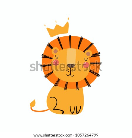 Hand drawn vector illustration of a cute funny lion in a crown. Isolated objects. Scandinavian style flat design. Concept for children print.