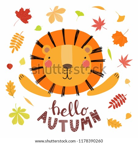 stock-vector-hand-drawn-vector-illustration-of-a-cute-lion-with-colorful-falling-leaves-quote-hello-autumn