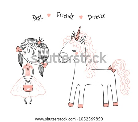 Stock Photo Hand drawn vector illustration of a cute little princess in a pink dress and a unicorn, with text. Isolated objects on white background. Line drawing. Unfilled outline. Design concept for kids print.