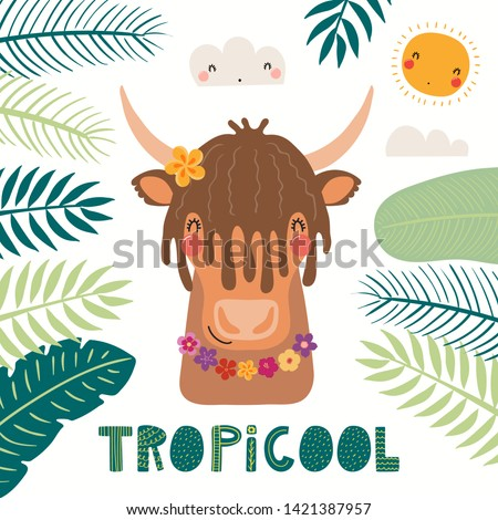 Hand drawn vector illustration of a cute yak in summer in flower necklace, with lettering quote Tropicool. Isolated objects on white background. Scandinavian style flat design. Concept for kids print. Stok fotoğraf ©