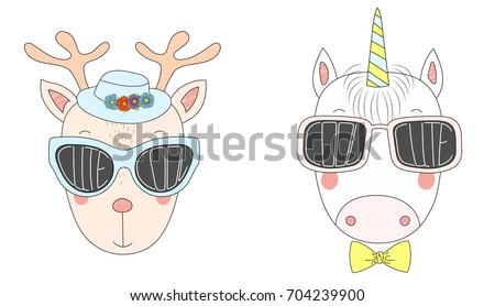 19545764c27 Hand drawn vector illustration of a funny reindeer and unicorn in big  sunglasses with words Cute