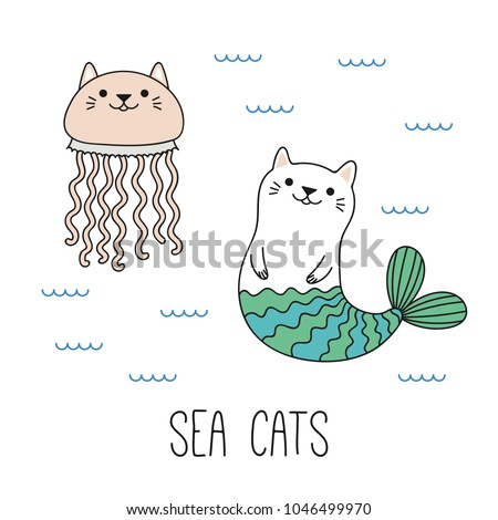 Stock Photo Hand drawn vector illustration of a kawaii funny cat mermaid, jellyfish, swimming in the sea. Isolated objects on white background. Line drawing. Design concept for children print.