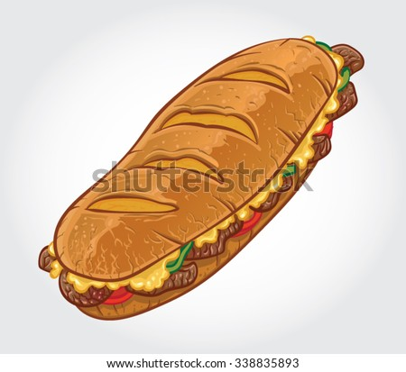 Hand drawn vector illustration of a Philly Cheese Steak Sandwich, Philadelphia Cheese Steak Sandwich.