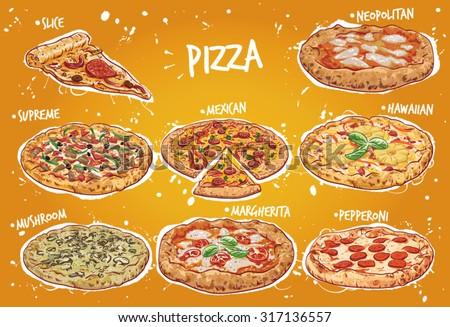 Hand drawn vector illustration of a Pizza menu including popular pizza varieties, Neapolitan, Italian Supreme, Mexican, Hawaiian, Mushroom, Margherita and Pepperoni Pizza.