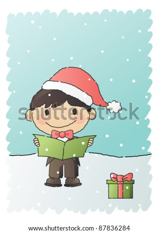 Hand-drawn vector illustration of a smiling young boy wearing a Christmas hat, singing a Christmas carol in the snow.