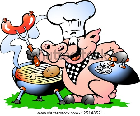 Drawn vector illustration of an chef pig making bbq stock vector - Hand Drawn Vector Illustration Of An Chef Pig Standing And