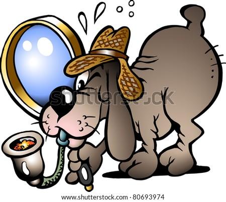 Hand-drawn Vector illustration of an Inspector Dog