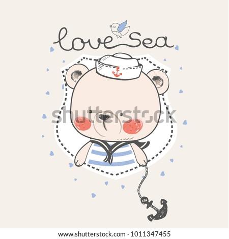 hand drawn vector illustration of  bear sailor
