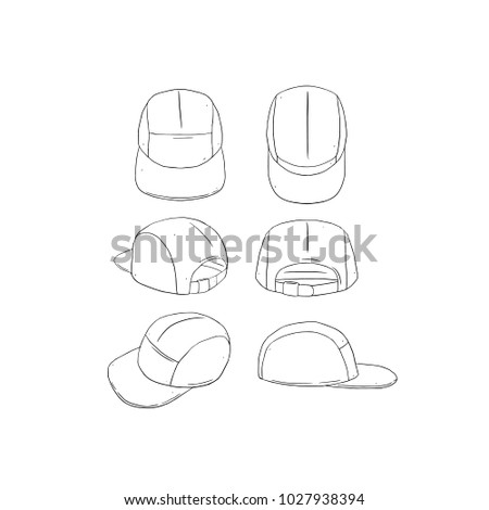 Hand drawn vector illustration of blank 5 panel camp hat,cap on white background.